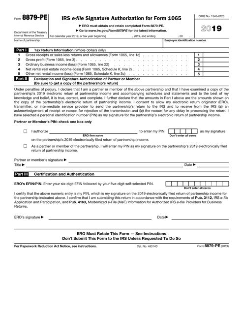 IRS Form 8879-PE 2019 Printable Pdf
