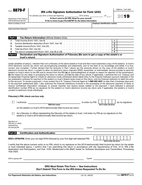 IRS Form 8879-F 2019 Printable Pdf