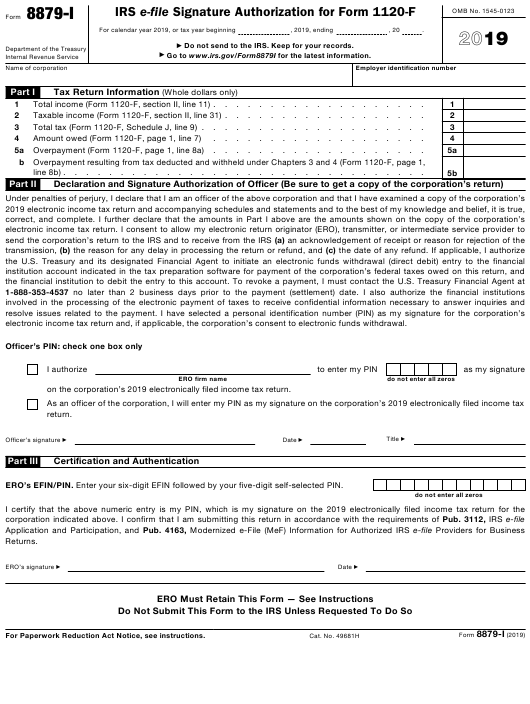 IRS Form 8879-I 2019 Printable Pdf