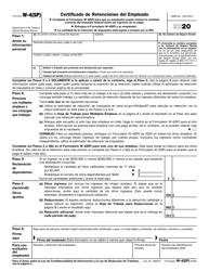 """IRS Formulario W-4(SP) """"Certificado De Retenciones Del Empleado"""" (Spanish), 2020"""