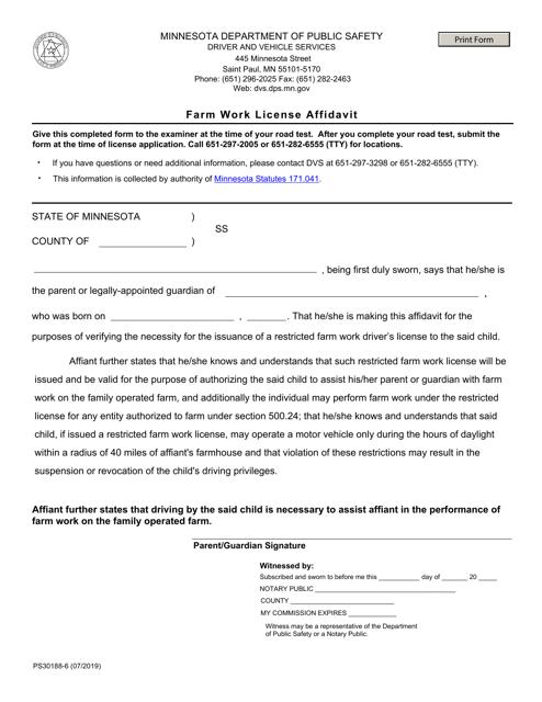 Form PS30188  Printable Pdf