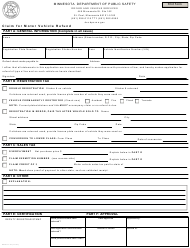 "Form PS2511 ""Claim for Motor Vehicle Refund"" - Minnesota"