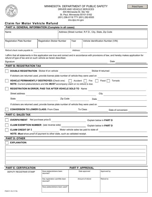 Form PS2511  Printable Pdf