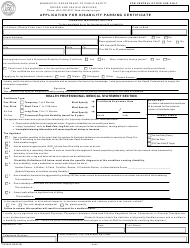 "Form PS2005 ""Application for Disability Parking Certificate"" - Minnesota"