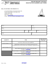 "Form PD-1 ""Dealer Request for Boat Registration Numbers and Forms"" - New York"