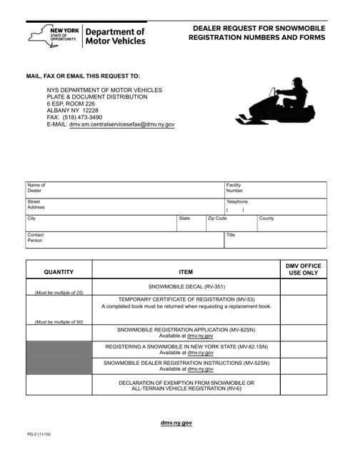 Form PD-2  Printable Pdf