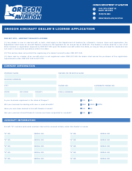 """Oregon Aircraft Dealer's License Application"" - Oregon"