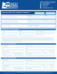 """Application for Hangar Tenancy"" - Oregon"