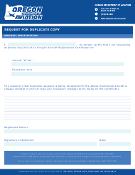 """Request for Duplicate Aircraft Certificate Form' "" - Oregon"