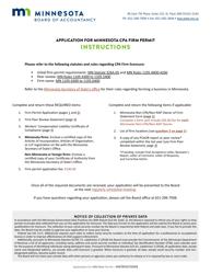 """Application for Minnesota CPA Firm Permit"" - Minnesota"