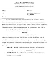 """Declaration of the Pro Se Party"" - Minnesota"