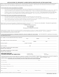 "Form ADPH-HS-88 ""Application to Request a New Birth Certificate After Adoption"" - Alabama"