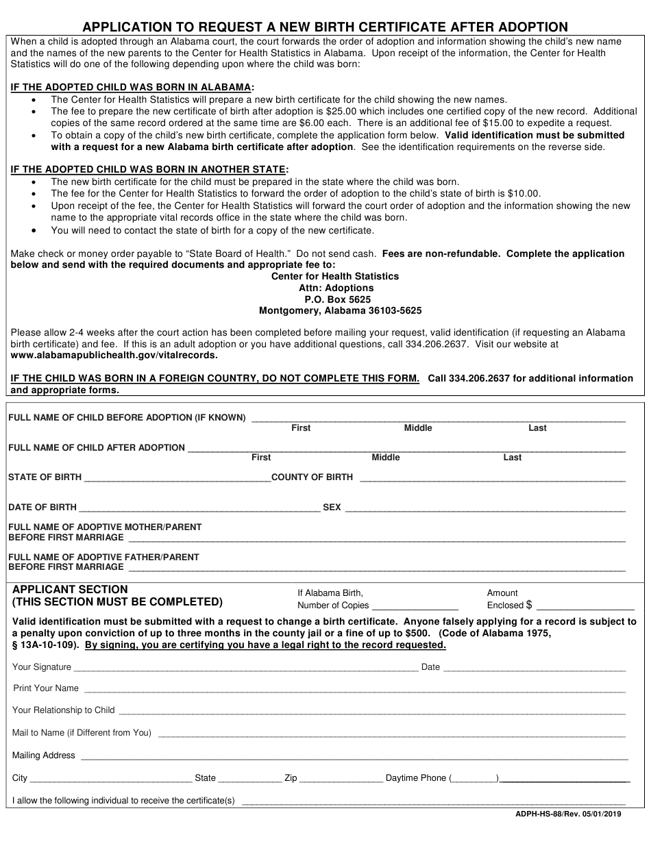 certificate birth alabama adoption form application request printable adph templateroller hs fill