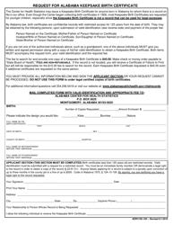 "Form ADPH-HS-14H ""Request for Alabama Keepsake Birth Certificate"" - Alabama"