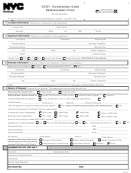 "Form CCD1 ""Construction Code Determination Form"" - New York City"