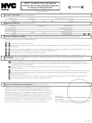 "Form HPD4 ""Certificate of No Harassment (CONH) Pilot Program Building: Request for Waiver of Required Item"" - New York City"
