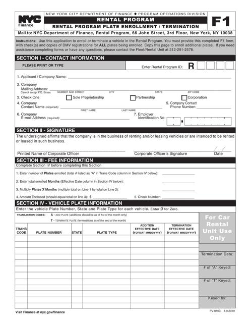 Form F1 (PV-0103)  Printable Pdf