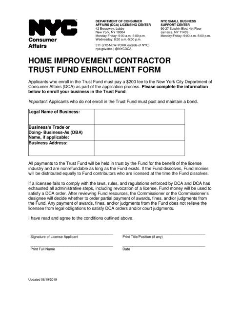 """Home Improvement Contractor Trust Fund Enrollment Form"" - New York City Download Pdf"