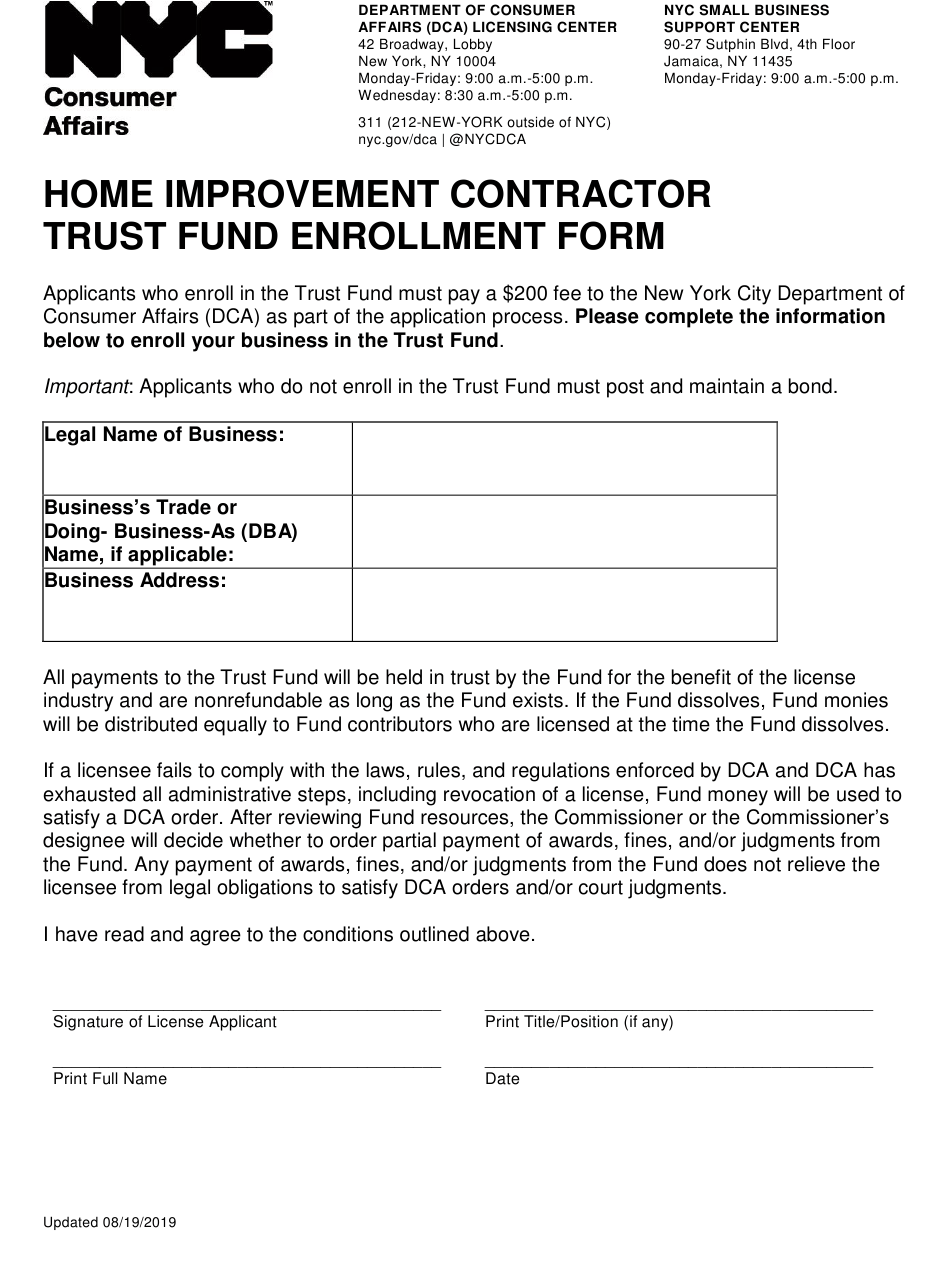 New York City Home Improvement Contractor Trust Fund Enrollment Form Download Printable Pdf Templateroller