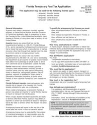 "Form DR-156T ""Florida Temporary Fuel Tax Application"" - Florida"