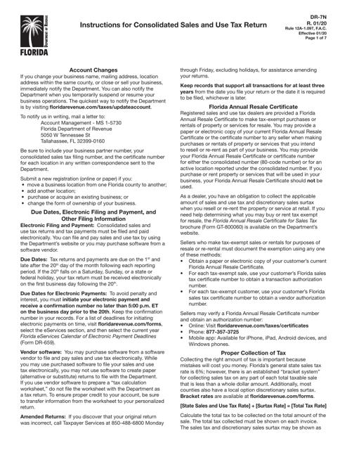 Form DR-7  Printable Pdf