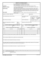"""DA Form 2125 """"Report to Training Agency"""""""