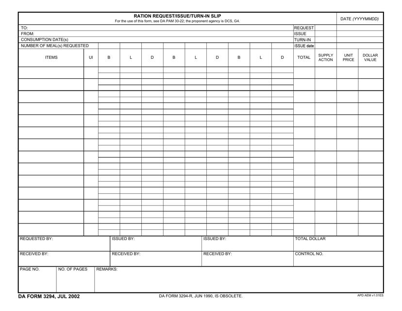 DA Form 3294  Printable Pdf