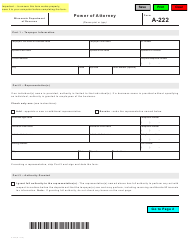 "Form A-222 ""Power of Attorney"" - Wisconsin"