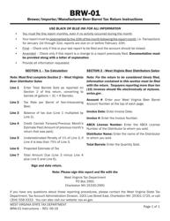 """Instructions for Form WV/BRW-01 """"Brewer/Importer/Manufacturer Beer Barrel Tax Return"""" - West Virginia"""