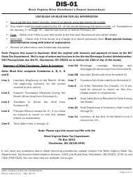 "Instructions for Form WV/DIS-01 ""West Virginia Wine Distributor's Report"" - West Virginia"