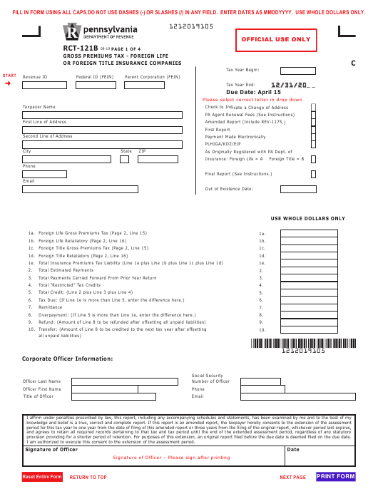 Form RCT-121B Download Fillable PDF or Fill Online Gross ...