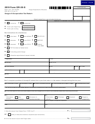 "Form OR-20-S (150-102-025) ""Oregon S Corporation Tax Return"" - Oregon, 2019"