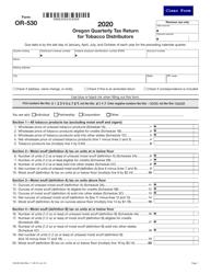 "Form OR-530 (150-605-004) ""Oregon Quarterly Tax Return for Tobacco Distributors"" - Oregon, 2020"