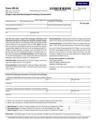 "Form OR-24 (150-101-734) ""Oregon Like-Kind Exchanges/Involuntary Conversions"" - Oregon"