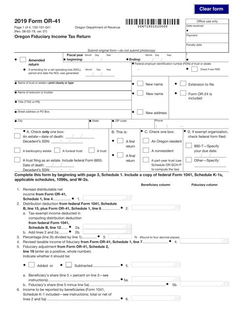 Form OR-41 (150-101-041) 2019 Printable Pdf
