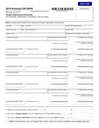 """Form 150-101-025 Schedule OR-DEPR """"Oregon Depreciation Schedule"""" - Oregon, 2019"""