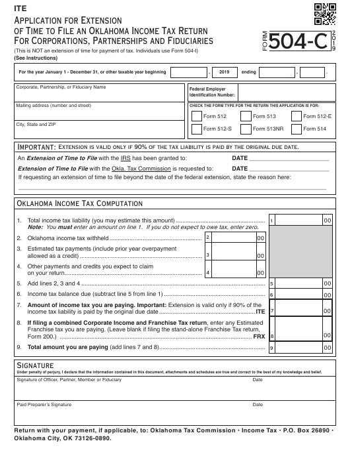 Form 504-C 2019 Printable Pdf