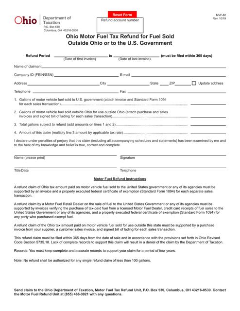 Form MVF-82  Printable Pdf