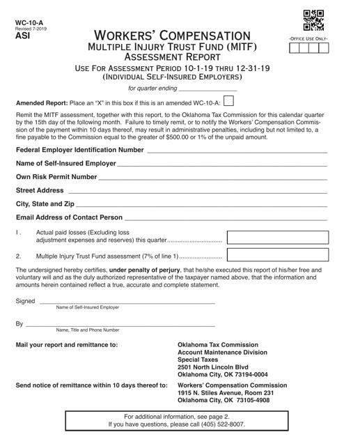 Form WC-10-A  Printable Pdf