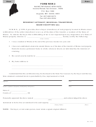 "Form REW-2 ""Residency Affidavit, Individual Transferor, Maine Exception 3(A)"" - Maine"