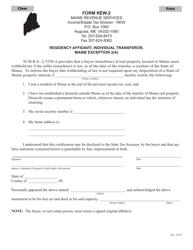 "Form REW-2 ""Residency Affidavit, Individual Transferor, Maine Exception 3(A)"" - Maine"