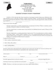 """Form REW-3 """"Residency Affidavit of Entity Transferor"""" - Maine"""