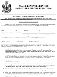 "Form ST-A-110 ""Interstate Commerce Affidavit - Casual Sale"" - Maine"