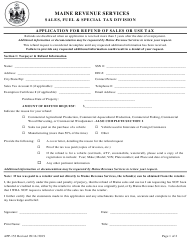 "Form APP-153 ""Application for Refund of Sales or Use Tax"" - Maine"