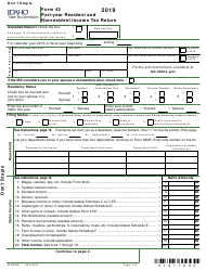"Form 43 (EFO00091) ""Part-Year Resident and Nonresident Income Tax Return"" - Idaho, 2019"