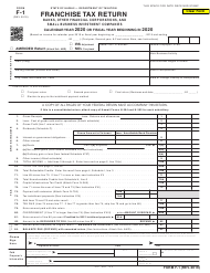 "Form F-1 ""Franchise Tax Return - Banks, Other Financial Corporations, and Small Business Investment Companies"" - Hawaii, 2020"