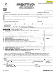 """Form M-6 """"Hawaii Estate Tax Return"""" - Hawaii"""
