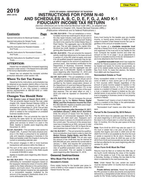 Form N-40 Schedule A, B, C, D, E, F, G, J, K-1 2019 Printable Pdf