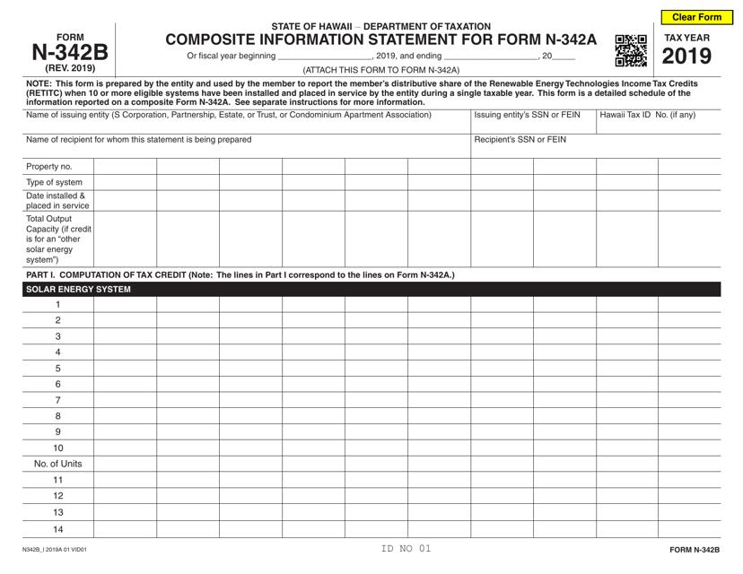 Form N-342B 2019 Printable Pdf