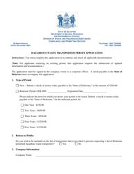 """Hazardous Waste Transporter Permit Application"" - Delaware"